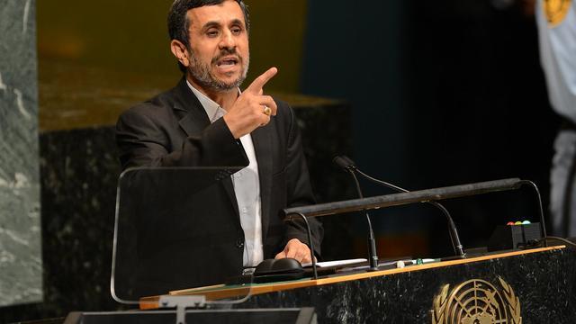 Le président iranien Mahmoud Ahmadinejad s'exprime devant l'Assemblée générale de l'ONU, le 26 septembre 2012 à New York [Emmanuel Dunand / AFP]