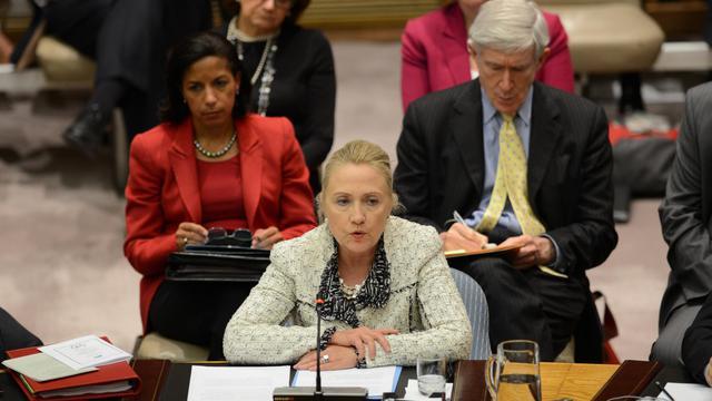La secrétaire d'Etat américaine Hillary Clinton lors d'une réunion du Conseil de sécurité de l'ONU le 26 septembre 2012 à New York [Emmanuel Dunand / AFP]