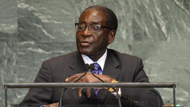 Le président du Zimbabwe Robert Mugabe s'exprime devant l'Assemblée générale de l'ONU, le 26 septembre 2012 à New York [Stan Honda / AFP]