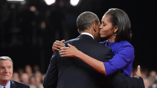 Barack et Michelle Obama le 3 octobre 2012 à Denver [Michael Reynolds / AFP]