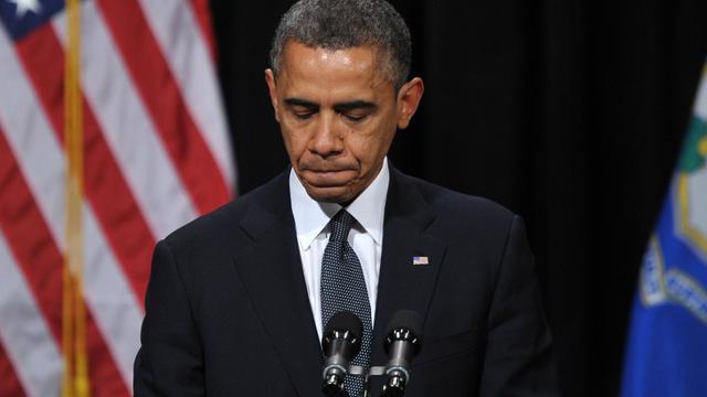 Obama lors de la cérémonie en mémoire aux victimes de la tuerie de l'école élémentaire de Newtown, le 16 décembre 2012 [Mandel Ngan / AFP/Archives]