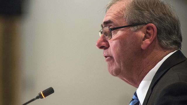 Le président de l'AMA John Fahey le 12 mai 2013 à Montréal [Rogerio Barbosa / AFP]