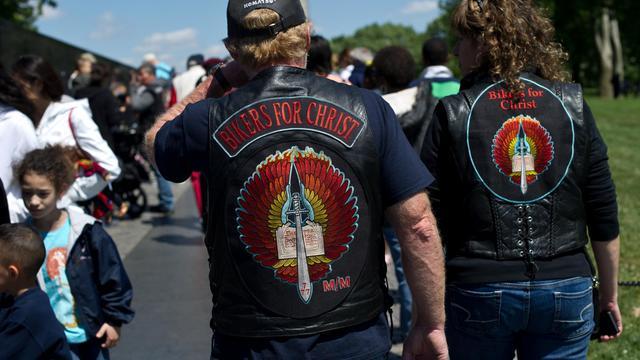 Des membres des Bikers du Christ, le 25 mai 2013 à Washington [Nicholas Kamm / AFP]