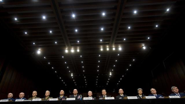 Des hauts responsables militaires américains auditionnés par le sénat sur la recrudescence des viols, agressions et harcèlements sexuels dans l'armée. le 4 juin 2013 à Washington [Saul Loeb / AFP]