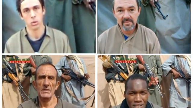 Capture d'écran du site Sahara Medias montrant quatre des six Français otages.
