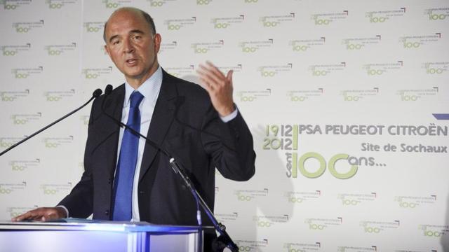 Pierre Moscovici, ministre de l'Economie, lors d'une conférence de presse le 13 septembre 2012