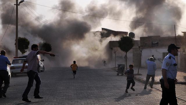 Vue du village turc qui a été la cible de tirs d'obus syriens.