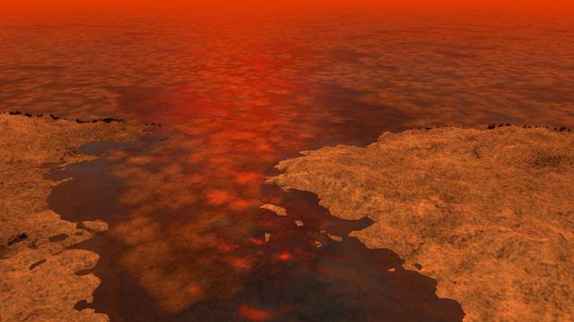 Une image de synthèse représentant ce à quoi pourrait ressembler la formation de glace à la surface des étendues liquides de Titan.