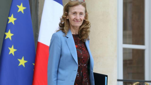 La ministre de la Justice, le 11 avril 2018, à sa sortie de l'Elysée. [LUDOVIC MARIN / AFP/Archives]