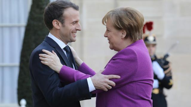 Emmanuel Macron recevant Angela Merkel à l'Elysée, le 16 mars 2018. [LUDOVIC MARIN / AFP/Archives]