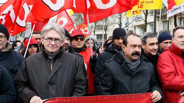 Jean-Claude Mailly (FO) et Philippe Martinez (CGT) lors d'une manifestation contre la loi travail le 9 mars 2016 à Paris  [MATTHIEU ALEXANDRE / AFP/Archives]
