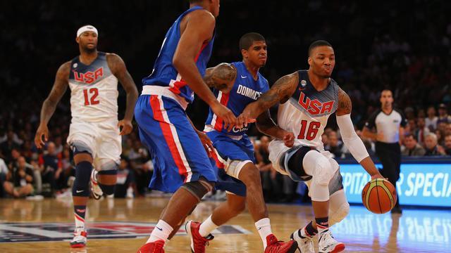 Le meneur de l'équipe américaine de basket Damian Lillard face à la République dominicaine le 20 août 2014 à New York [Al Bello / Getty/AFP]