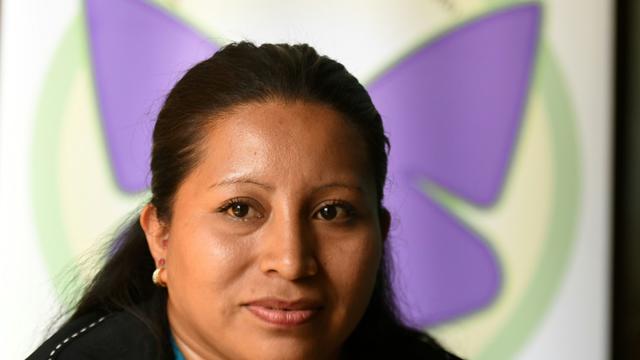 LaSalvadorienne Teodora Vasquez, qui vient de passer 11 ans derrière les barreaux pour une fausse couche lors d'une interview avec l'AFP à San Salvador, le 22 février 2018 [MARVIN RECINOS / AFP]