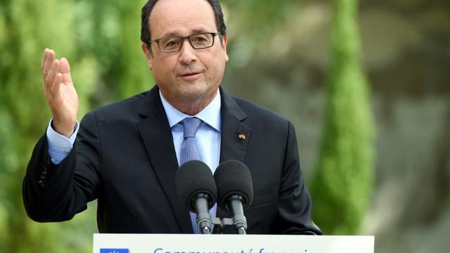 Le président François Hollande s'adresse à la communauté française à Tanger le 20 septembre 2015 [FADEL SENNA / AFP]