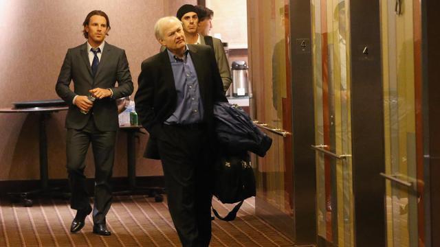 Des membres de la délégation de la NHL lors des négociations entre la Ligue et les joueurs pour sortir du lock-out, le 6 décembre 2012 à New York [Bruce Bennett / Getty Images/AFP]