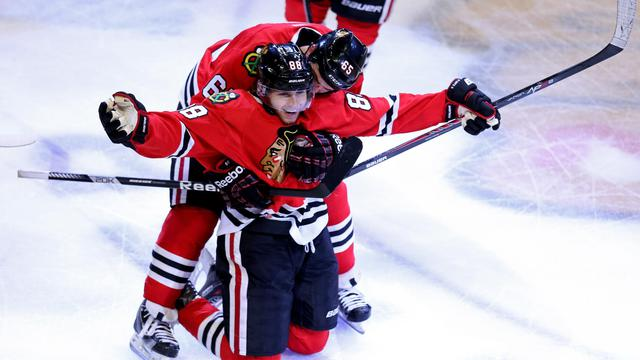Le joueur de Chicago Patrick Kane célèbre son but en prolongation contre Los Angeles, le 8 juin 2013 à Chicago [Jonathan Daniel / AFP/Getty Images]