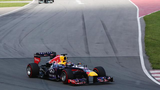 Sebastian Vettel vainqueur du GP du Canada de F1 le 9 juin 2013 à Montreal [Mark Thompson / AFP/Getty Images]