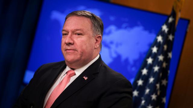 Le secrétaire d'Etat américain Mike Pompeo lors d'une conférence de presse, le 23 octobre 2018 à Washington [ANDREW CABALLERO-REYNOLDS / AFP/Archives]