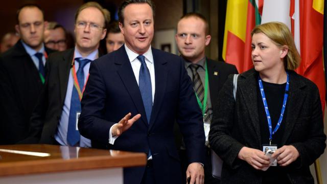 Le Premier ministre britannique David Cameron au sommet de l'UE à Bruxelles, le 19 février 2016 [THIERRY CHARLIER / AFP]