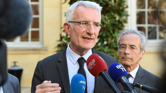 Le patron de la SNCF Guillaume Pepy à l'Hôtel Matignon à Paris, le 7 mai 2018 [Christophe ARCHAMBAULT / AFP/Archives]
