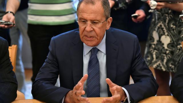 Le ministre russe des Affaires étrangères, Sergueï Lavrov, le 14 août 2015 à Moscou [KIRILL KUDRYAVTSEV / AFP/Archives]