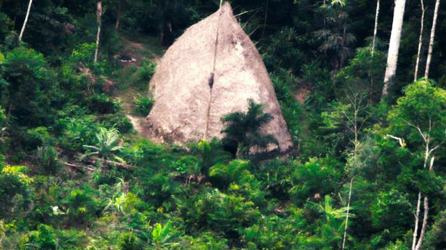 Une cabane appartenant à une tribu indigène, dévouverte en Amazonie brésilienne en 2017 [Adam MOL / National Indian Foundation/AFP]