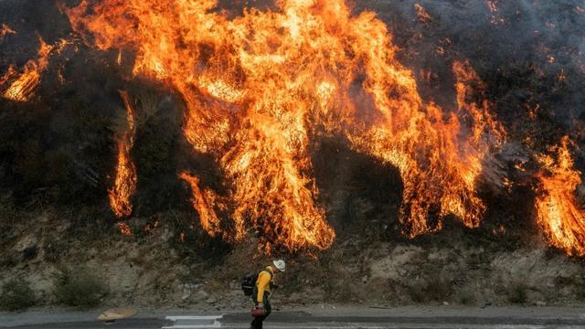 Les alentours de Los Angeles sont touchés par d'importants feux de forêt, comme ici l'incendie de Saddleridge, le 11 octobre 2019. [Josh Edelson / AFP]