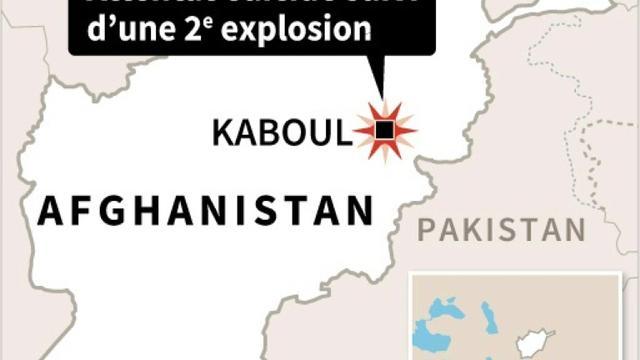 Carte de localisation de l'attentat-suicide dans une salle de sport de Kaboul suivi d'une seconde explosion qui s'est produite à proximité  [afp / AFP]
