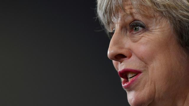 Theresa May la 7 juin 2017 à Norwich, le 7 juin 2017 [BEN STANSALL / POOL/AFP]
