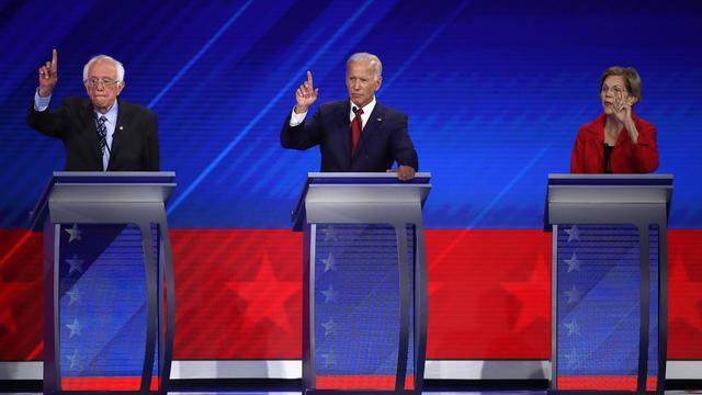 Bernie Sanders, Joe Biden et Elizabeth Warren (de gauche à droite), trois septuagénaires qui veulent la Maison Blanche