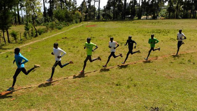 Des athlètes kenyans lors d'une séance d'entraînement, le 13 janvier 2016 à Iten [SIMON MAINA / AFP/Archives]