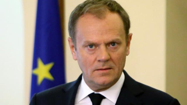 Le président du Conseil européen Donald Tusk, los d'une conférence de presse à Nicosie, le 15 mars 2016 [Petros Karadjias / POOL/AFP/Archives]