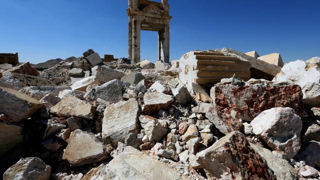 Les ruines de la cella du temple de Bêl à Palmyre, le 31 mars 2016 [JOSEPH EID / AFP]