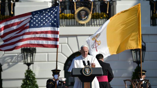 Le pape François à la Maison Blanche, le 23 septembre 2015 [VINCENZO PINTO / AFP]