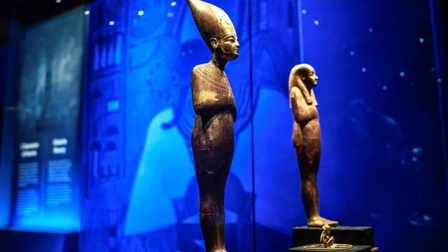 Statuettes présentées à la Villette pour l'exposition Toutankhamon qui a fermé ses portes le 22 septembre 2019 [STEPHANE DE SAKUTIN / AFP/Archives]