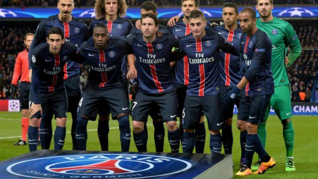 L'équipe du PSG avant son 8e de finale aller de Ligue des champions contre Chelsea, le 19 février 2016 au Parc des Princes [MIGUEL MEDINA / AFP]