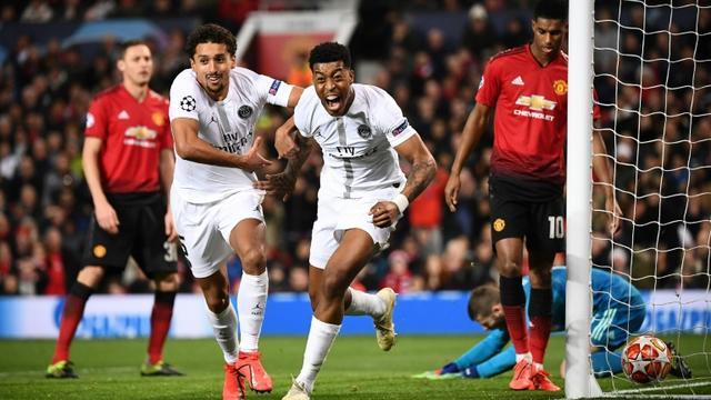 Le PSG reste sur un succès probant chez Manchester United, battu en Ligue des champions avec notamment un but de Presnel Kimpembe (d), le 12 février 2019 [FRANCK FIFE / AFP/Archives]
