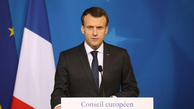 Emmanuel Macron lors d'une conférence de presse à l'issue d'un sommet européen à Bruxelles, le 23 mars 2018 [Ludovic MARIN / AFP]