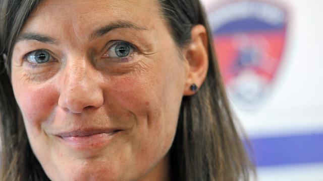 Corinne Diacre, nouvel entraîneur de Clermont Foot, le 30 juin 2014 à Clermont-Ferrand  [Thierry Zoccolan / AFP]