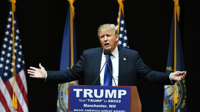 Le candidat à la primaire républicaine Donald Trump le 8 février 2016 à Manchester dans le New Hampshire [Don EMMERT                           / AFP]