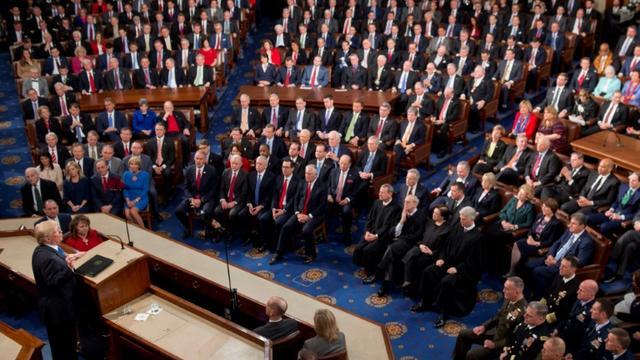 Donald Trump prononce son discours sur l'état de l'Union devant le Congrès le 30 janvier 2018  [SAUL LOEB / AFP/Archives]
