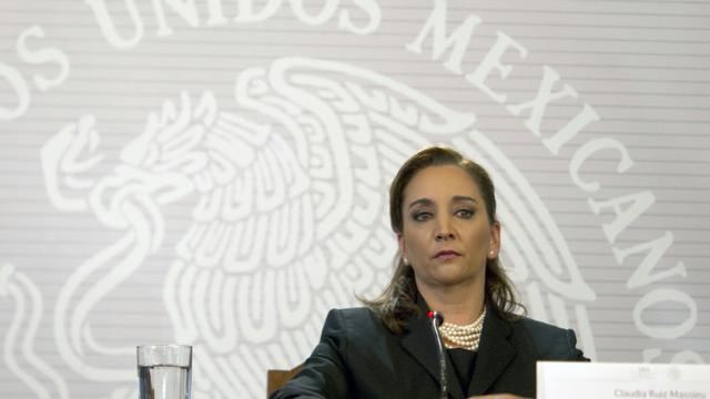 La ministre mexicaine des Affaires étrangères Claudia Ruiz Massieu lors d'une conférence de presse à Mexico, le 14 septembre 2015 [Yuri Cortez / AFP]