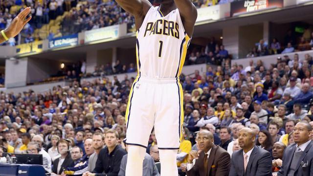 Lance Stephenson des Indiana Pacers lors d'un match de NBA, en février 2014 [Andy Lyons / Getty/AFP/Archives]