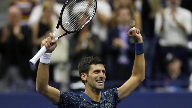 Novak Djokovic après sa victoire en finale de l'US Open, dimanche 9 septembre à New York. [ / AFP]