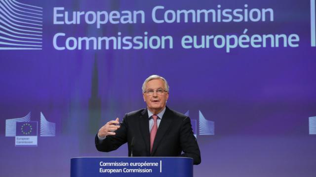 Le négociateur de l'UE pour le Brexit, Michel Barnier, pendant une conférence de presse à Bruxelles le 28 février 2018 [Aris Oikonomou / AFP]