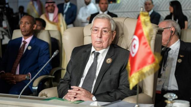 Le président du Conseil de la Nation, Abdelkader Bensalah, lors d'un sommet de la Ligue arabe, le 31 mars 2019 à Tunis [FETHI BELAID / POOL/AFP/Archives]