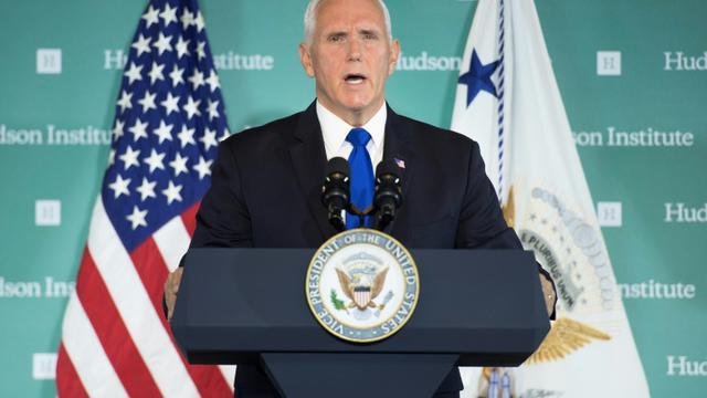 Le vice-président américain Mike Pence devant le Hudson Institute, un cercle de réflexion conservateur de Washington, le 4 octobre 2018. [Jim WATSON / AFP]