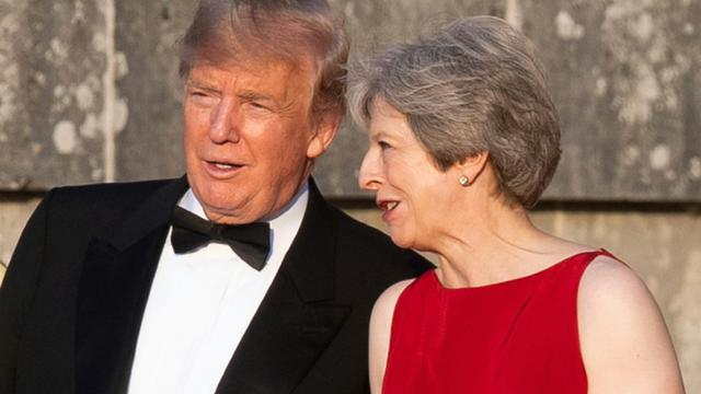 Le président Donald Trump et Theresa May, le 12 juillet 2018 à Blenheim près d'Oxford [WILL OLIVER / POOL/AFP]