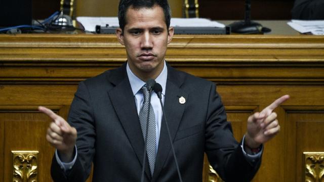 L'opposant et président autoproclamé du Venezuela Juan Guaido au Parlement à Caracas le 6 mars 2019 [Federico Parra                       / AFP]