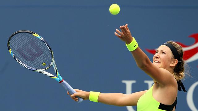 NEW YORK, NY - SEPTEMBER 04: Victoria Azarenka of Belarus serves against Samantha Stosur of Australia during their women's singles quarterfinals match on Day Nine of the 2012 US Open at USTA Billie Jean King National Tennis Center on September 4, 2012 in the Flushing neighborhood of the Queens borough of New York City. Alex Trautwig/Getty Images/AFP[GETTY IMAGES NORTH AMERICA]